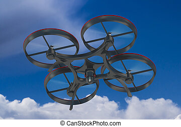 quadcopter drone  with camera in sky