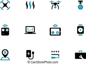 Quadcopter duotone icons on white background.