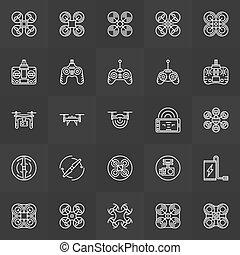 quadcopter, ensemble, icônes