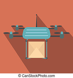 Quadcopter flat icon on a russet background