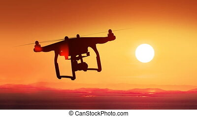 Quadcopter Flying Far Away to the Beautiful Sunset Sun....