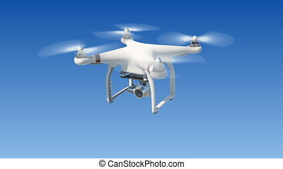 Quadcopter Flying in the Blue Sky and Filming with its Camera. Looped 3d Animation with Green Screen and Alpha Mask. Modern Electronics Concept.