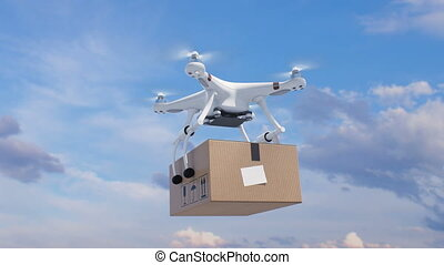 Quadcopter Flying in the Blue Sky with a Package and Rising...