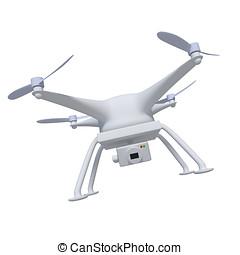 quadcopter, flyve, eller, hanbi