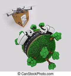 quadcopter, fuco, con, pacchetto, volando, erboso, globo, con, camion