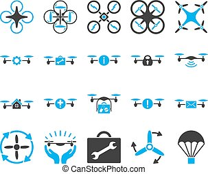 quadcopter, herramienta, aire, zángano, iconos