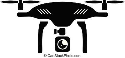 quadcopter, icon., aparat fotograficzny, truteń