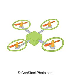 Quadcopter icon in cartoon style