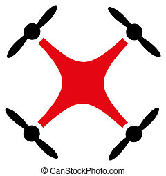 Quadcopter icon. Style is flat bicolor symbol, intensive red...