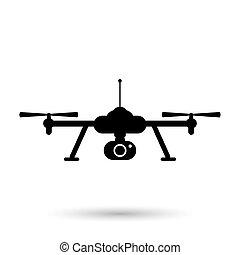 quadcopter, icon., vetorial