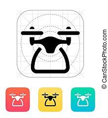 quadcopter, icon., vista lateral