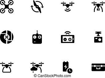 quadcopter, icone, volare, fondo., fuco, bianco