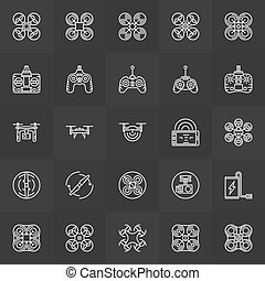 Quadcopter icons set