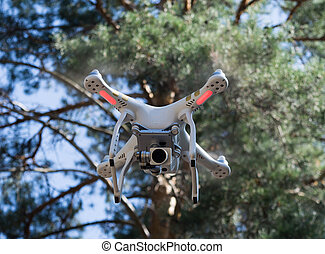quadcopter in the fosest