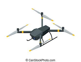 quadcopter, isometric, aéreo, elétrico, foto, fotografia, isolado, ilustração, zangão, sem fios, vetorial, vídeo, fundo, rc, branca, câmera