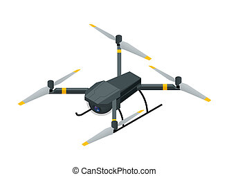 quadcopter, isometric, antena, elektryczny, fotografia, fotografia, odizolowany, ilustracja, truteń, radiowy, wektor, video, tło, rc, biały, aparat fotograficzny
