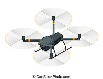 quadcopter, isometrico, aereo, elettrico, foto, fotografia, isolato, illustrazione, fuco, fili, vettore, video, fondo, rc, bianco, macchina fotografica