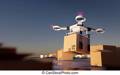 Quadcopter Logistics Delivery Drone Taking Off