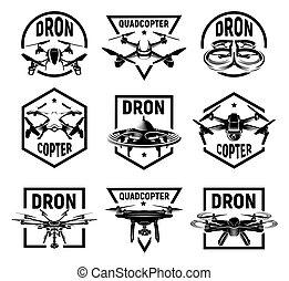 quadcopter, logos, vettore, set, illustration., icone, collezione, isolato, logotype, cornici, fpv, rc, congegno, monocromatico, fuco