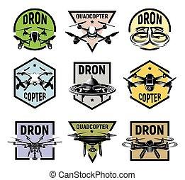 quadcopter, logos, wektor, komplet, illustration., barwny, ikony, zbiór, odizolowany, logotype, układa, fpv, rc, urządzenie, truteń