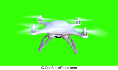 Quadcopter on a green background, seamless looping 3d...