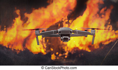 Quadcopter on fire background. Concept, use of technologies in extreme conditions.