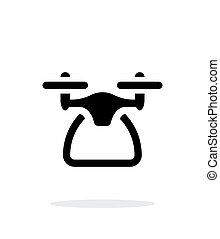 Quadcopter side view simple icon on white background.