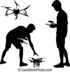 quadcopter, silhouette, illustration, agir, vecteur, noir, unmanned, homme