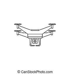 quadcopter, styl, szkic, truteń, aparat fotograficzny, ikona