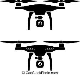 quadcopter, vektor, rc, drönare