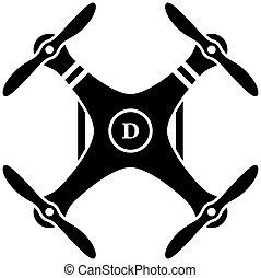 quadcopter, vetorial, pretas, rc, zangão