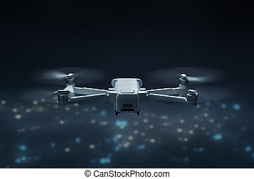 quadcopter, ville, voler, bourdon, au-dessus, nuit