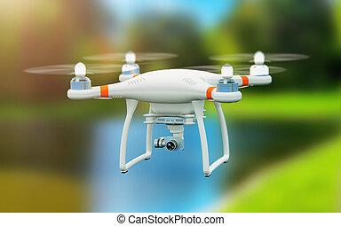 quadcopter, volare, fuco, macchina fotografica, video, 4k, aria