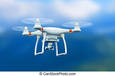 quadcopter, voler, bourdon, appareil photo, vidéo, 4k, air