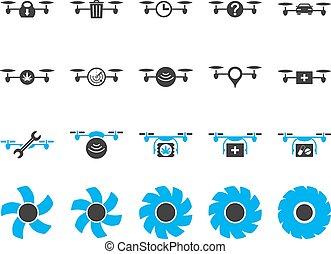 quadcopter, werktuig, lucht, neuriën, iconen