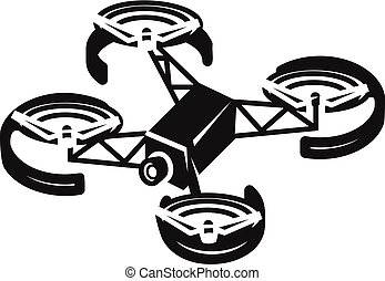 Quadcopter with camera icon, simple style