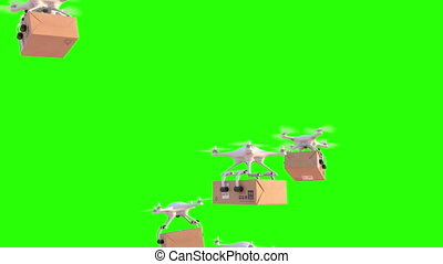 Quadcopters deliver packages, 3d animation on green...