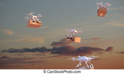 Quadcopters deliver packages against time-lapse sky...