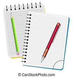 quaderni, matita, due, penna, verde rosso