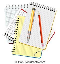 quaderni, matita, giallo, quattro, penna, rosso