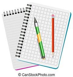 quaderni, penna, verde, due, rosso