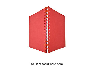 quaderno, aperto, rosso
