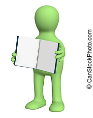 quaderno, burattino, 3d