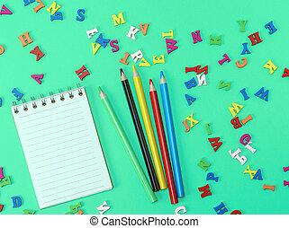 quaderno, con, vuoto, bianco, fogli, linea