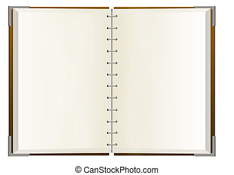 quaderno, con, vuoto, pagine