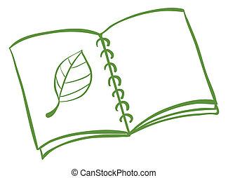 quaderno, foglia, disegno