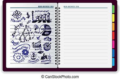 quaderno, idea, creativo