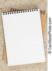 quaderno, pagina, vuoto, aperto, tavola