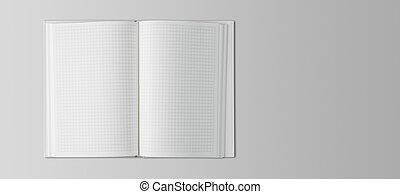 quaderno, tavola, aperto