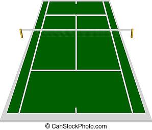 quadra tênis, campo, em, verde
